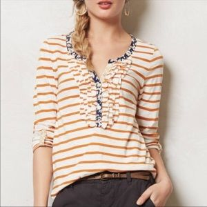 [ Postmark ] Henley Burgundy Striped Ruffle Top